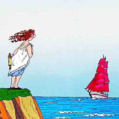 Жена встречает мужа у берега