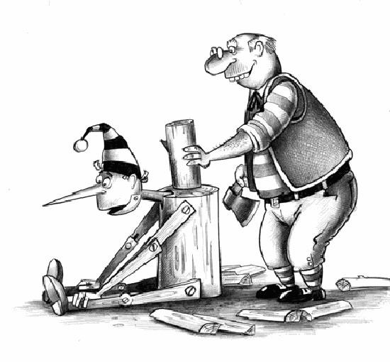 Буратино помогает папе Карло колоть дрова