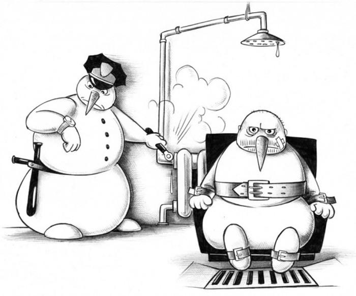 Казнь снеговика ... под душем