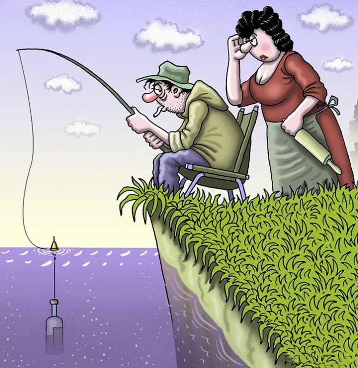 На рыбалке с женой