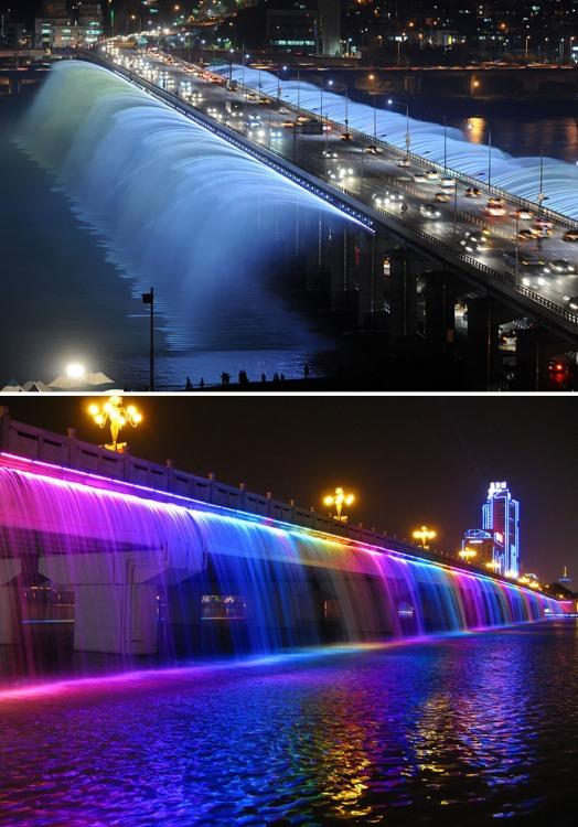 Мост с фонтаном и подсветкой
