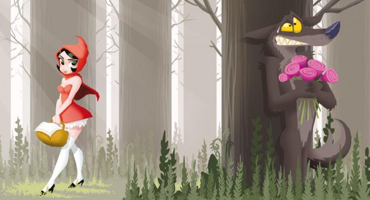 Серый волк подстерегает красную шапочку
