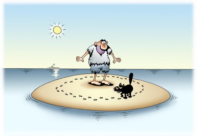 Когда ты оказался на необитаемом острове с черным котом